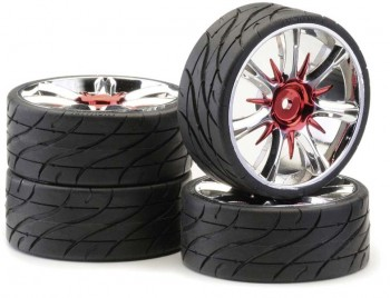 Ansmann - Tire+ Rim Set LP Twister Red Chrome