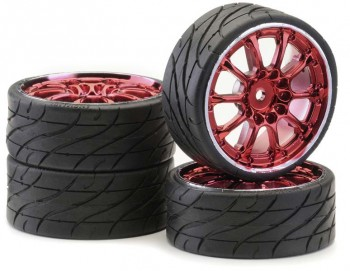 "Ansmann - Tire+Rim Set LP ""Worm"" Red Chrome"