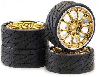 "Ansmann - Tire+Rim Set LP ""Worm"" Gold Chrome"