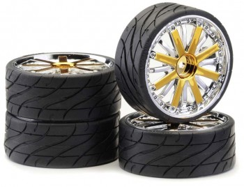 Ansmann - Tire+Rim Set LP Dubstar Gold Chrome