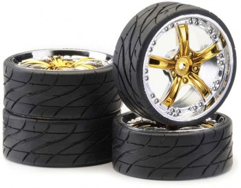 Ansmann - Tire+Rim Set LP Rockstar Gold Chrome