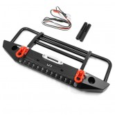 Aluminum Alloy Front Bumper with LED Light for TRX-4 , SCX10 II Black