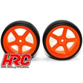 1/10 Drift - montiert - 5-Spoke Orange Felgen 6mm Offset - Slick (2 Stk.)